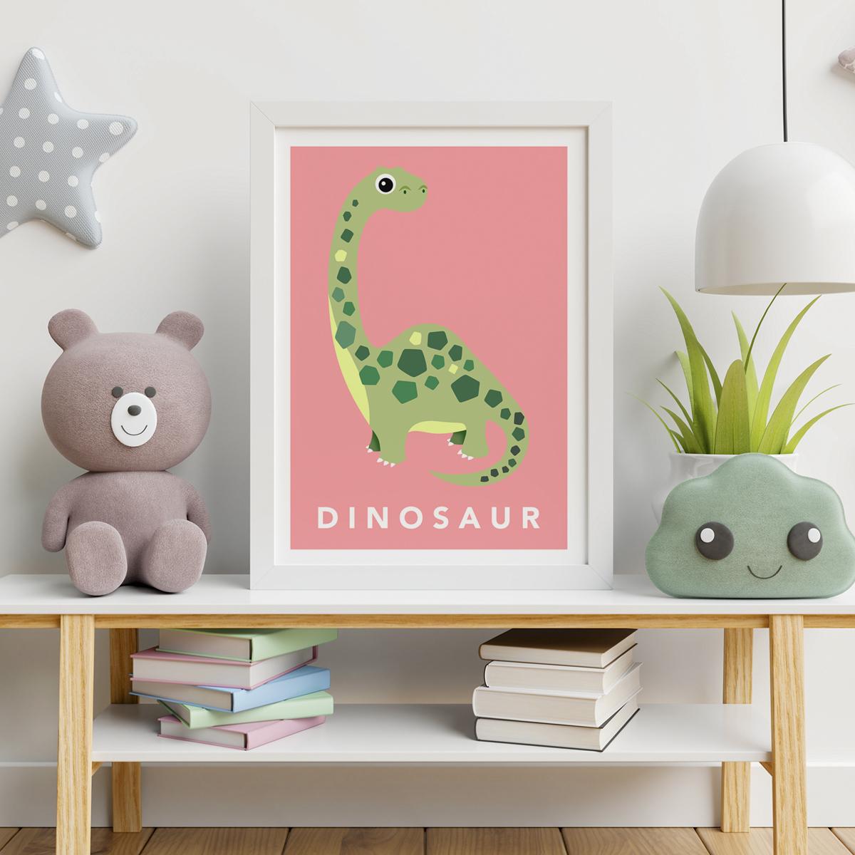 Dino pink framed