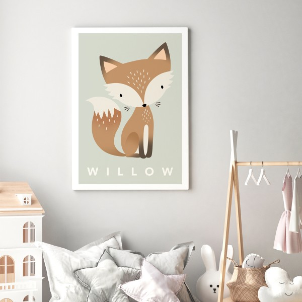 Fox pastel green canvas