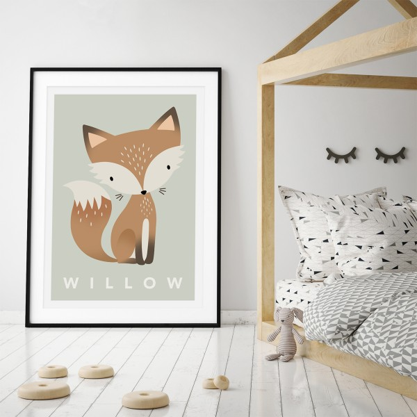 Fox pastel green framed