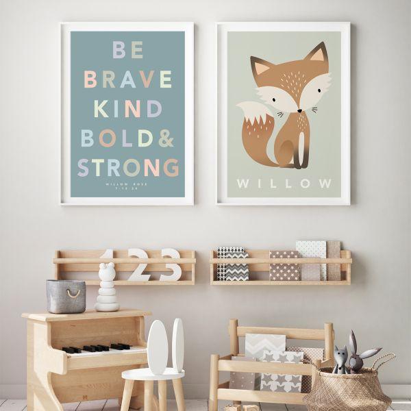 Fox pastel pair framed