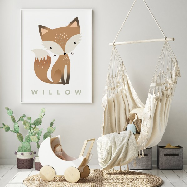 Fox pastel white framed