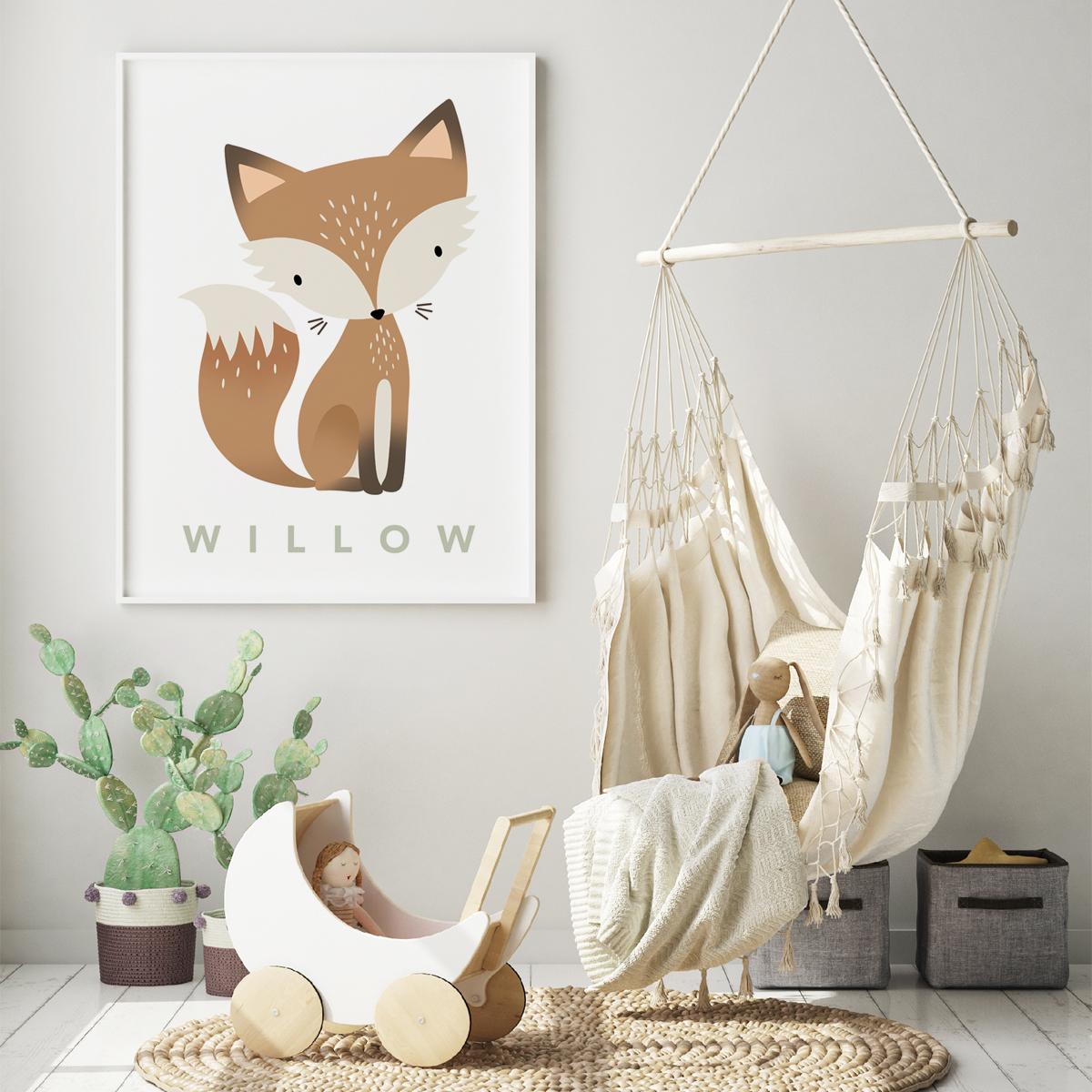 Fox pastel white framed