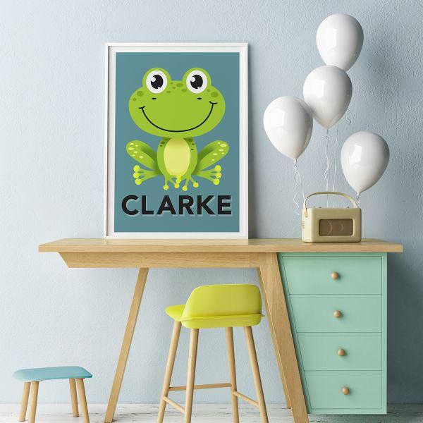 Frog teal framed