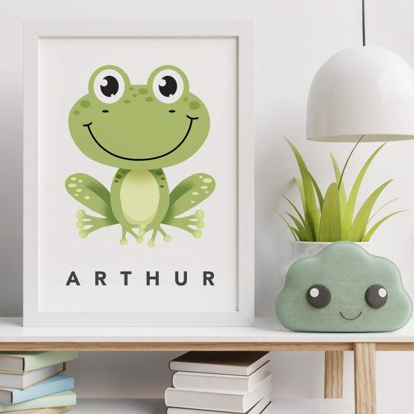 Frog white framed