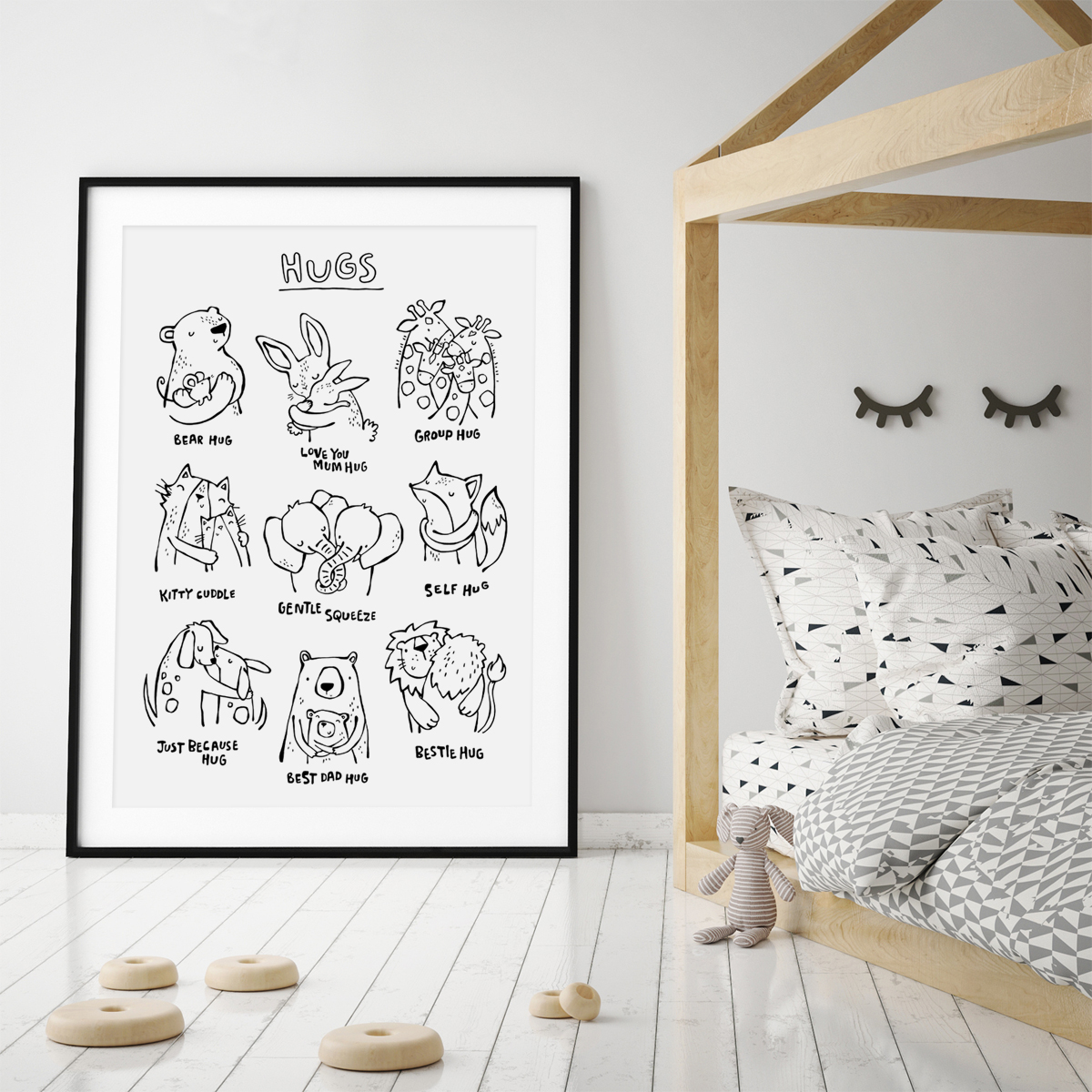 Hugs inky animals frame