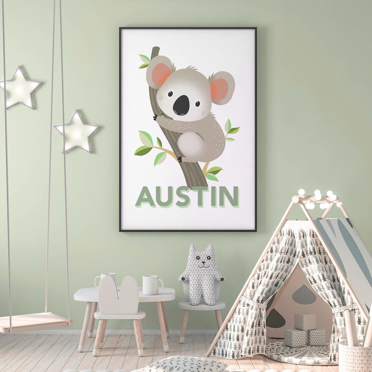 Koala pastel green frame