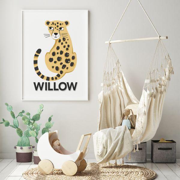 Leopard natural framed