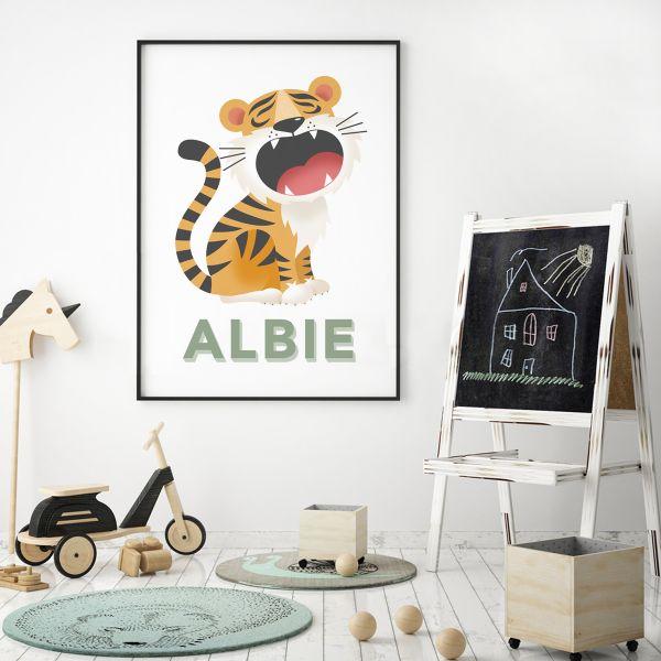Tiger white framed 2