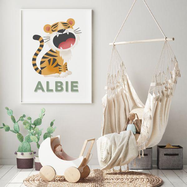 Tiger white framed