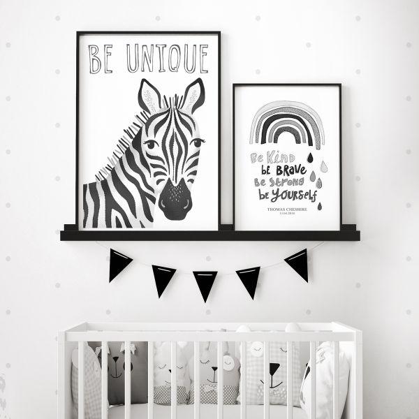 Zebra mono pair framed
