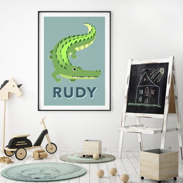 Croc teal framed