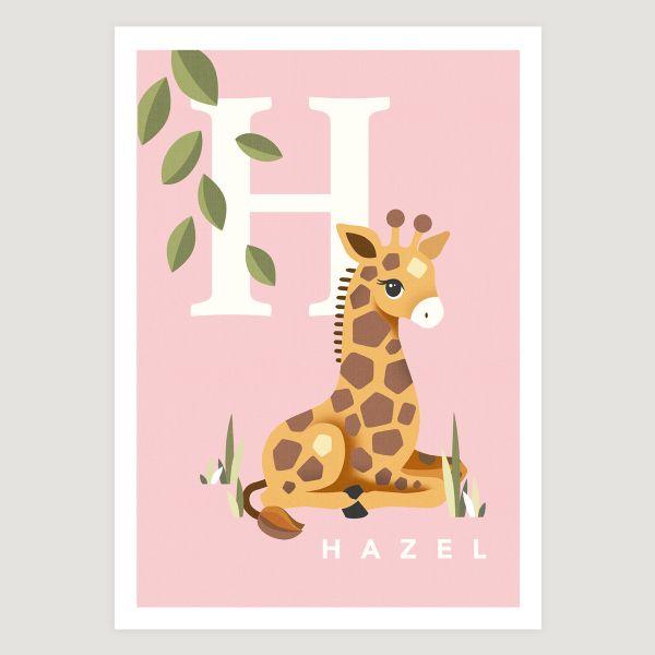 Giraffe initial baby pink