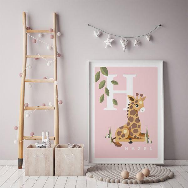Giraffe initial pink framed