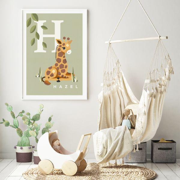 Giraffe initial sage framed