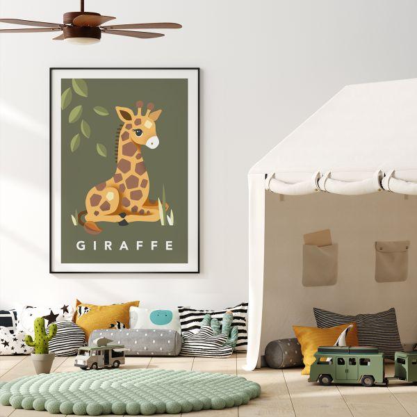Giraffe khaki framed