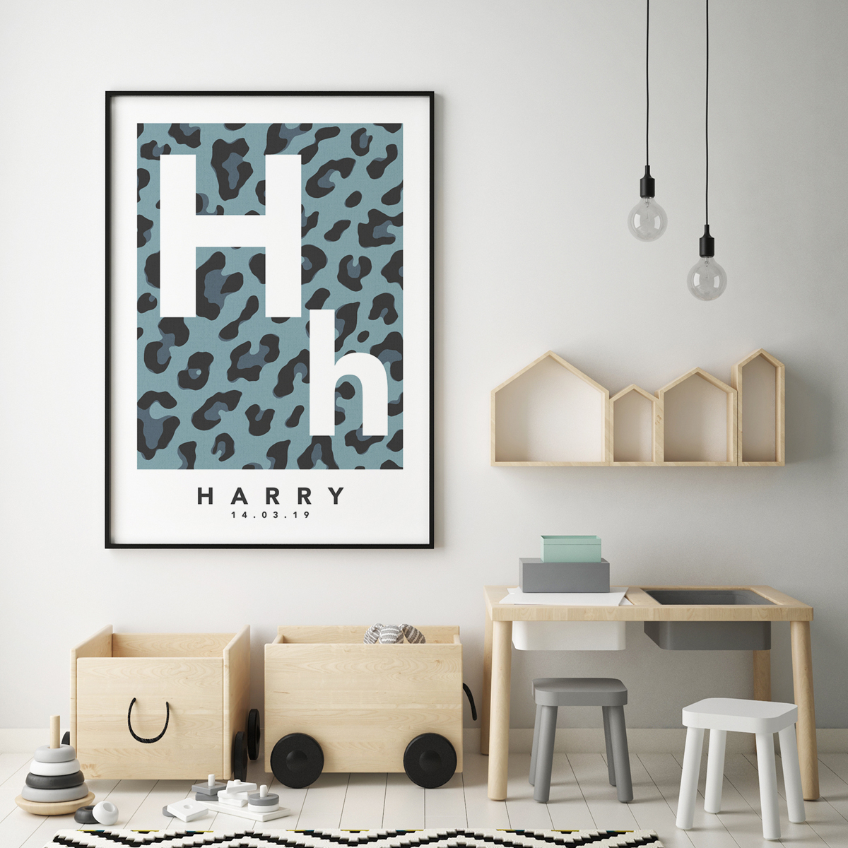 Leopard initial blue framed