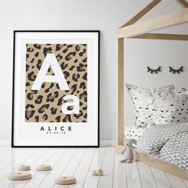 Leopard initial natural framed