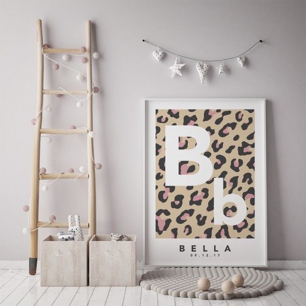 Leopard initial natural pink framed