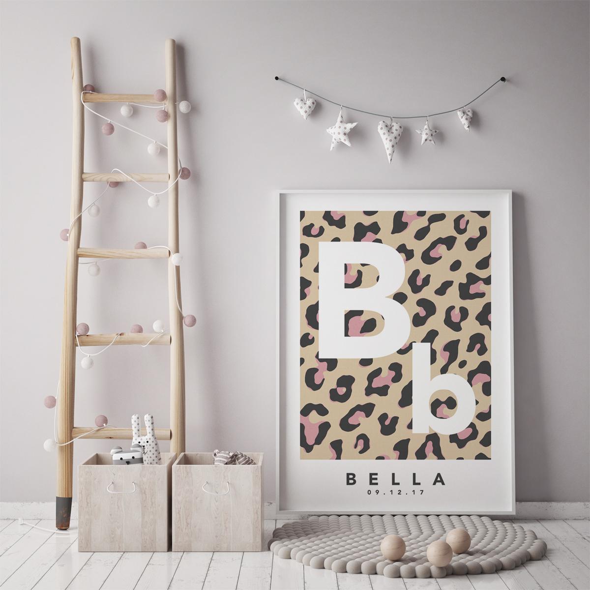 Leopard initial natural pink framed