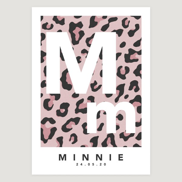 Leopard initial pink