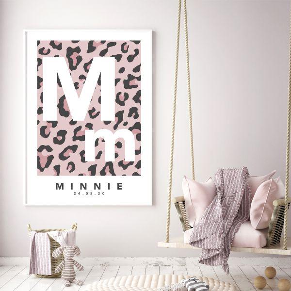 Leopard initial pink framed