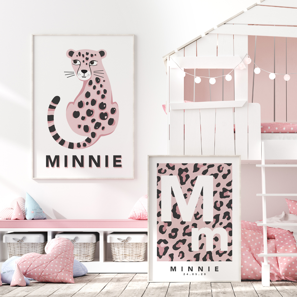 Leopard initial pink pair framed