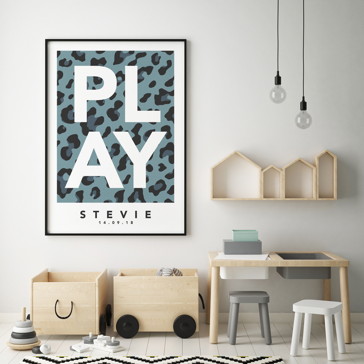Play leopard blue framed