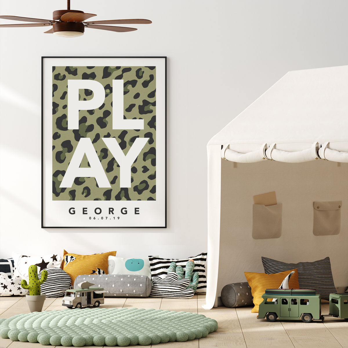 Play leopard green framed
