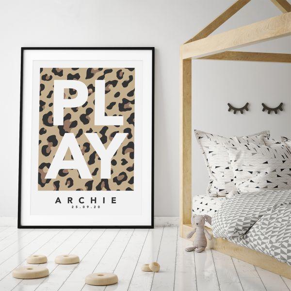Play leopard natural framed