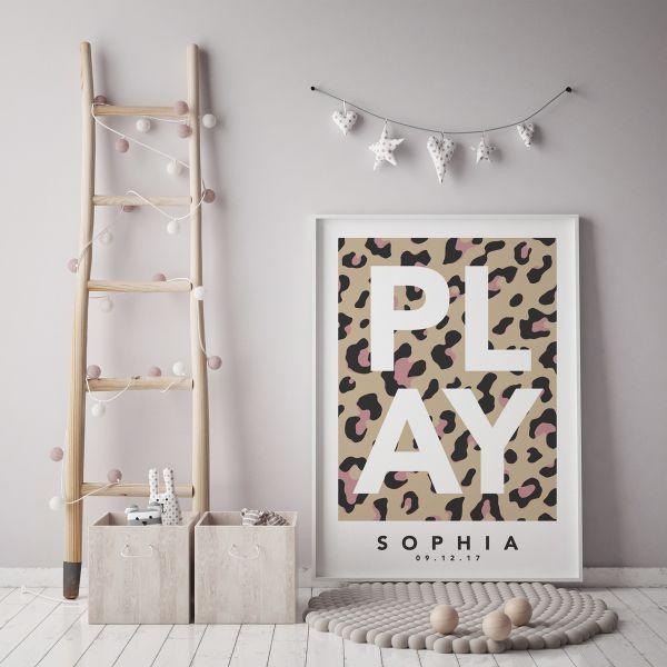 Play leopard natural pink framed