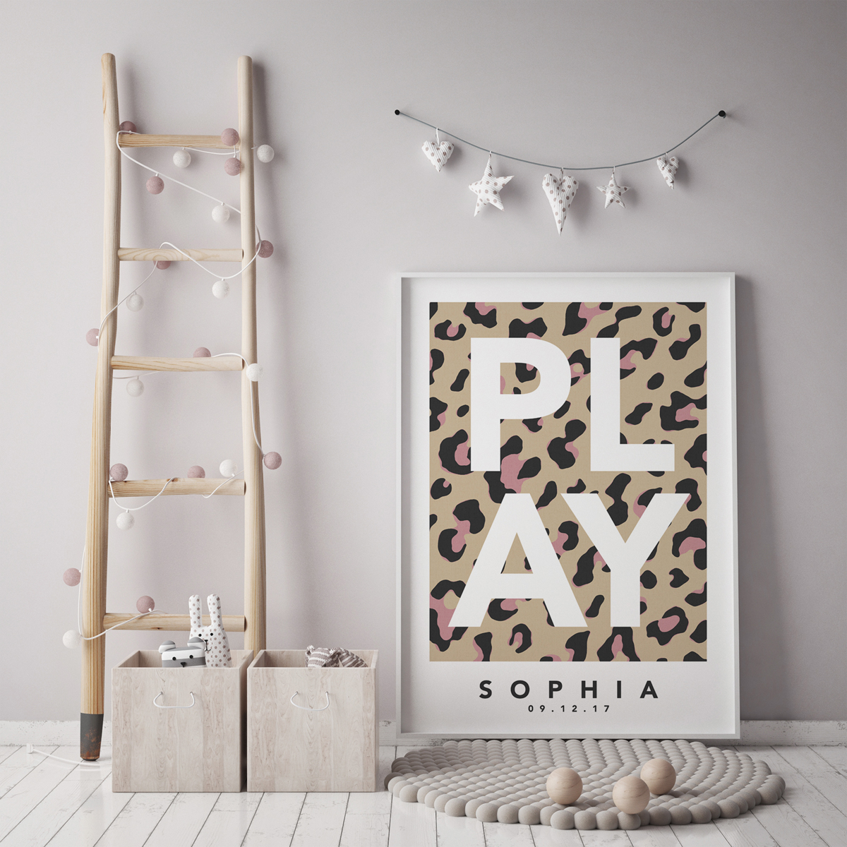 Play leopard natural pink framed