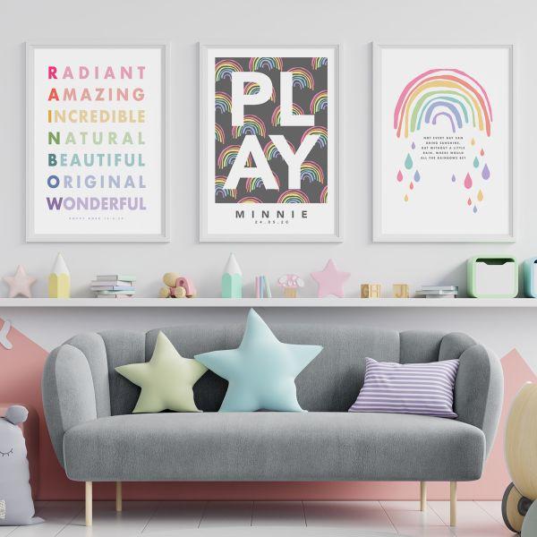 Play rainbow 3 set framed