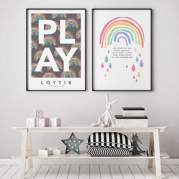 Play rainbow pair framed