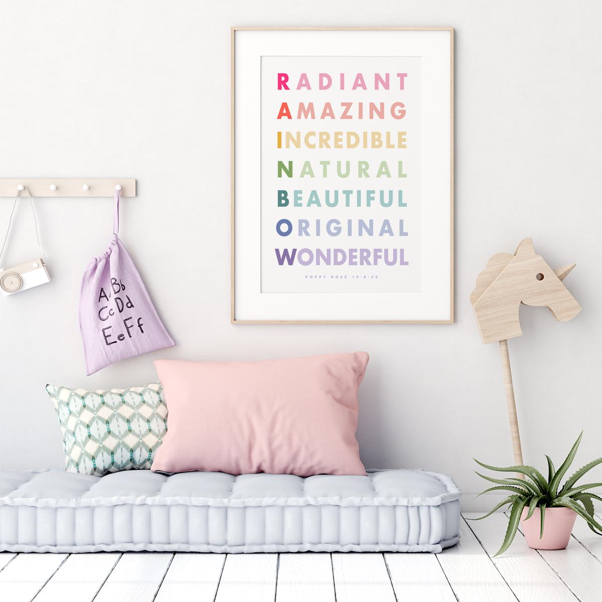 Rainbow alphabet framed