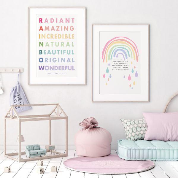 Rainbow alphabet pair framed