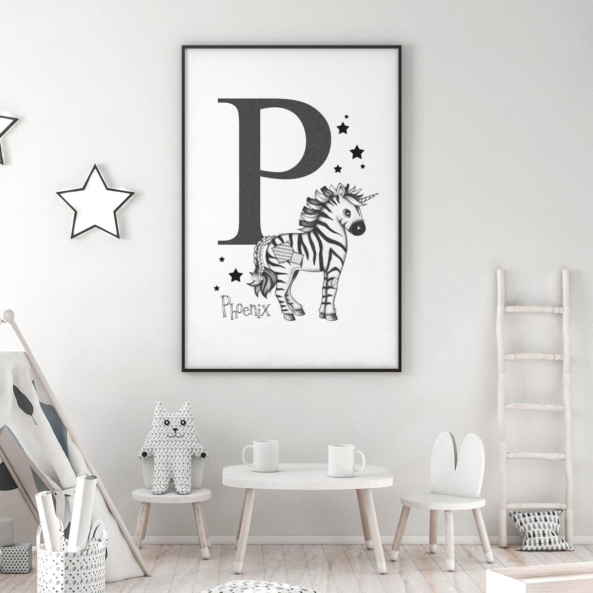 Zebra mono initial framed