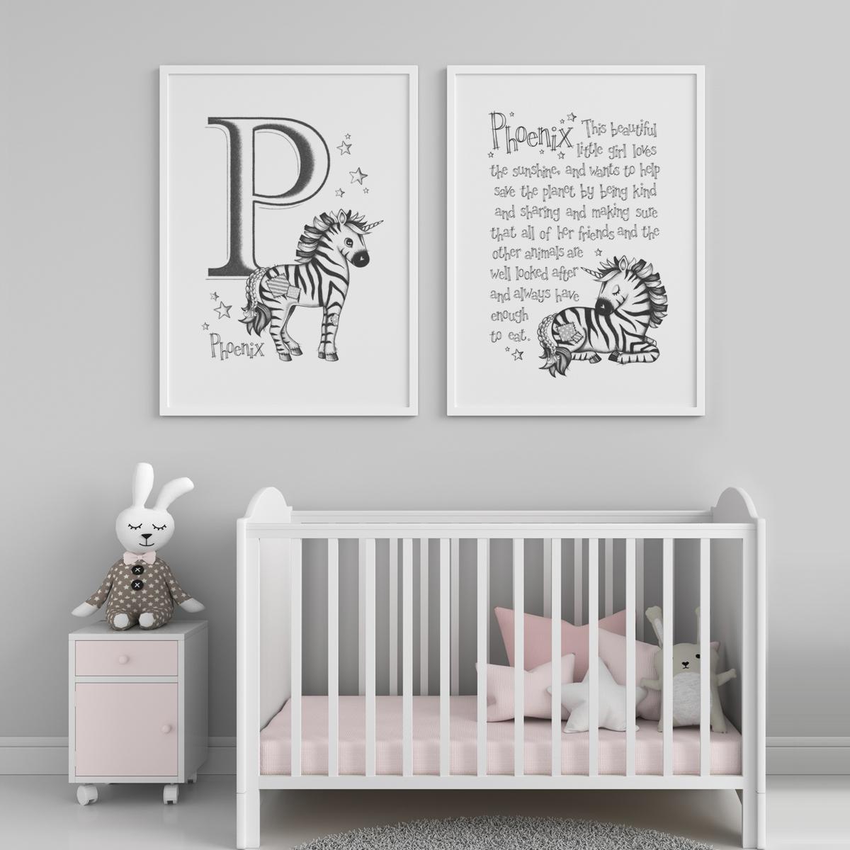 Zebracorn pair framed