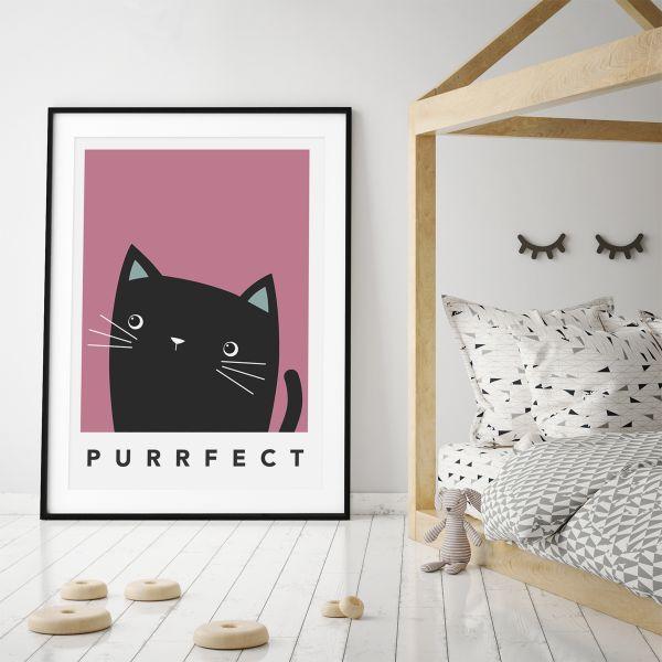black cat cheeky framed pink