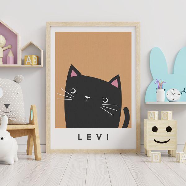 black cat cheeky orange framed