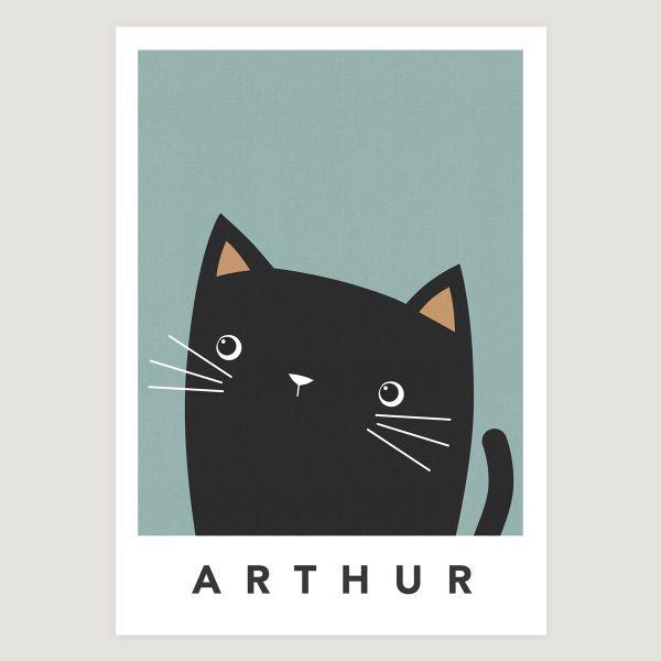 black cat cheeky teal