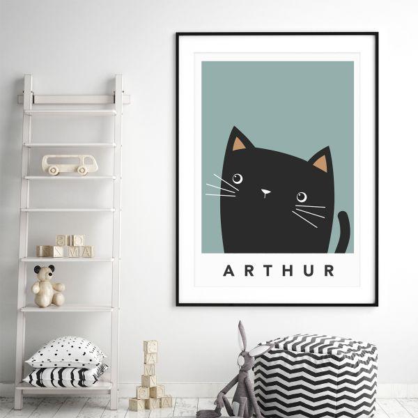 black cat cheeky teal framed