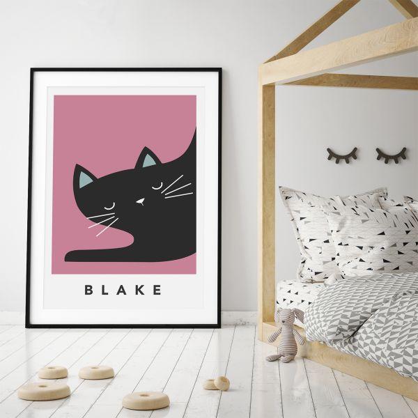 black cat sleepy framed pink