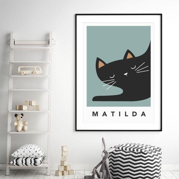 black cat sleepy framed teal