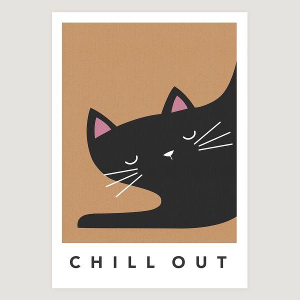 black cat sleepy orange