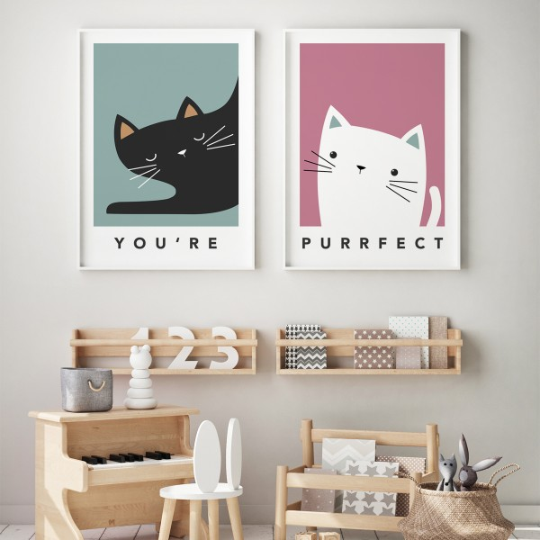 cat pair framed
