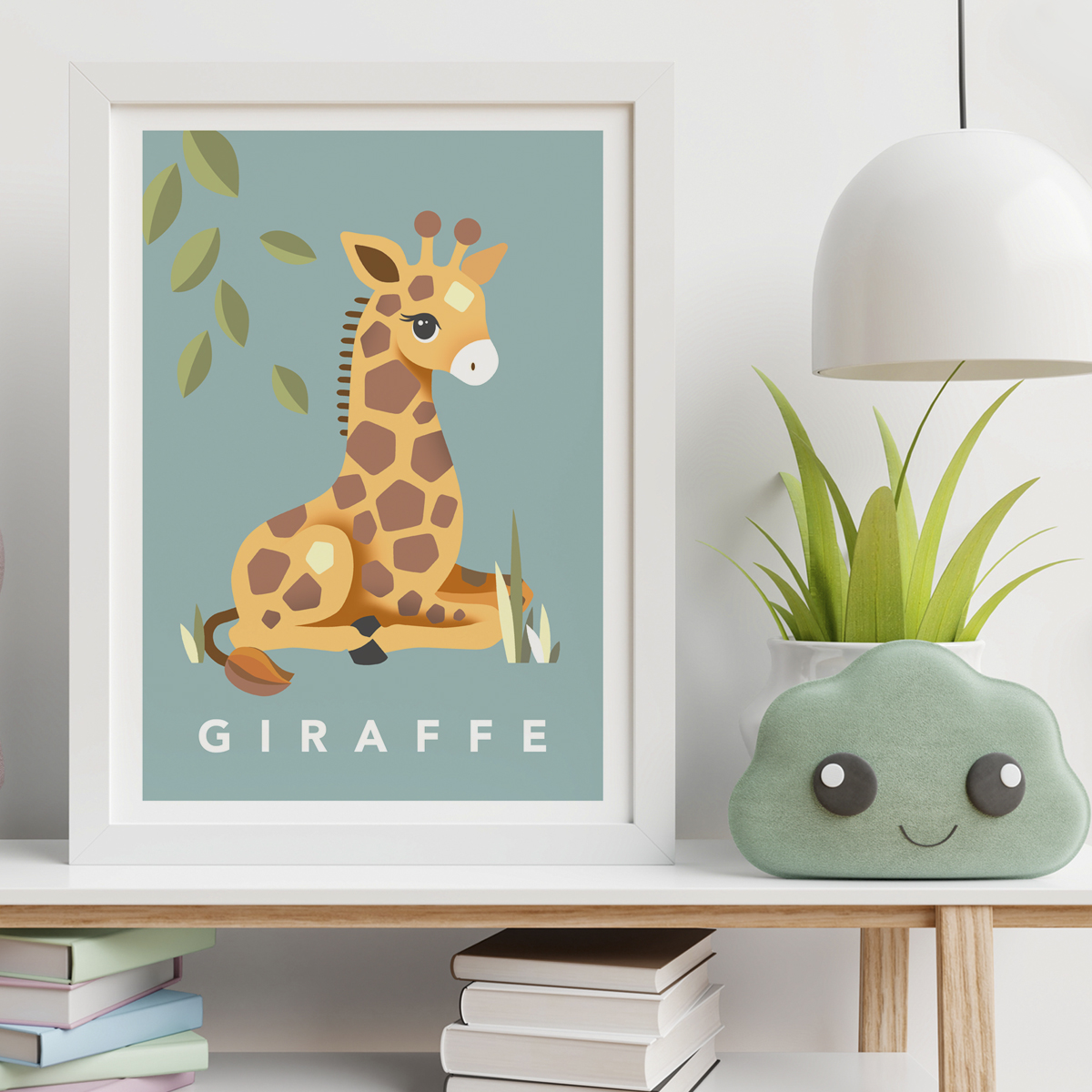 giraffe teal framed