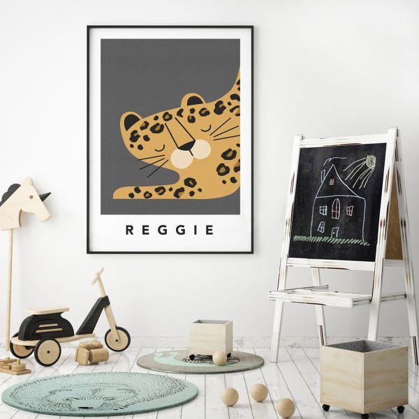 leopard charcoal framed