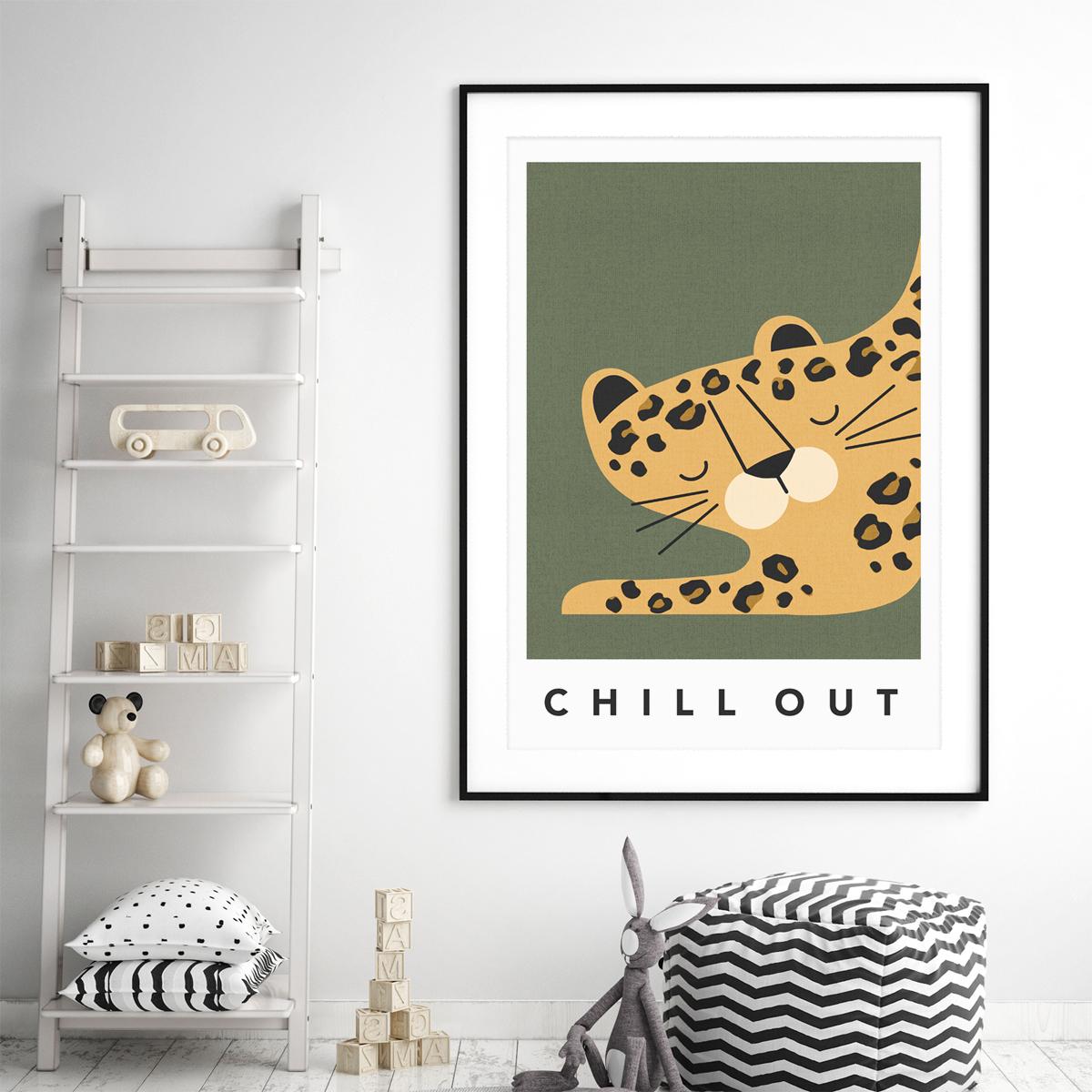 leopard khaki framed