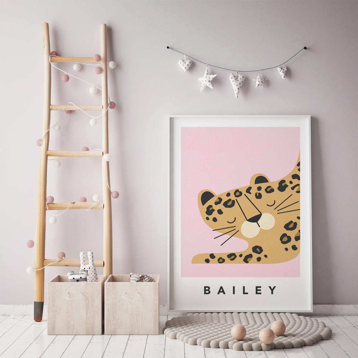 leopard pink framed
