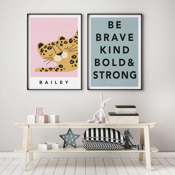 leopard pink pair framed